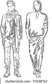 Vector sketch of fashionable men