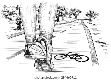 Vector sketch of feet of a runner running (Walking) in marathon
