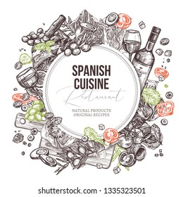 Vector sketch food spanish cuisine dishes background with round banner. Mediterranean menu. Hand drawn illustration with meat, wine, jamon, vegetables, salads olive