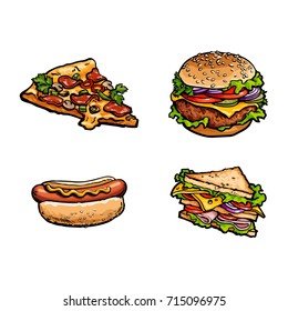 Vector sketch fresh sandwich, burger sausage hot dog, cheese and pepperoni pizza slice set. Fast food cartoon isolated illustration on a white background.