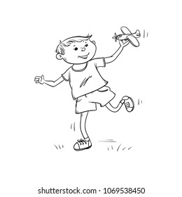 Vector sketch fun boy runs with toy plane in his hand. Active play children teenager walk in summer on outdoor black white cartoon isolated illustration.