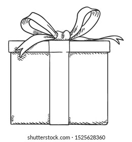 Vector Sketch Gift Box with Ribbon and Bow