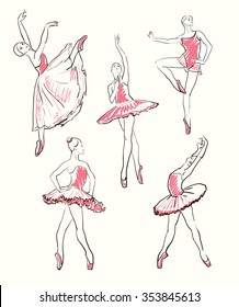 vector sketch of girls ballerinas standing in a pose set