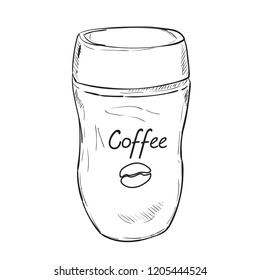 Vector sketch of glass jar with coffee. Hand drawn illustration isolated on white background.