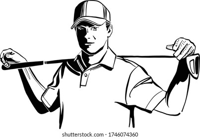 the vector sketch of the golf player