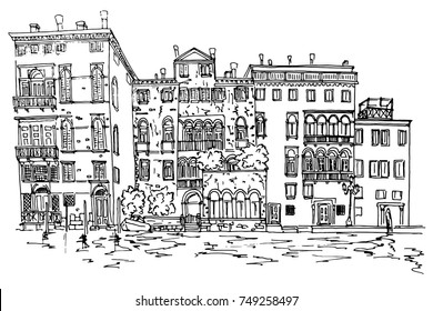 Vector sketch of Grand Canal in Venice. Italy.