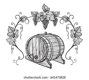 Vector sketch of grapes, wine glass, barrel on background for design