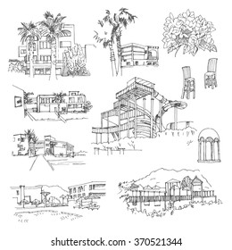 Vector sketch greek hotel. Hand drawn buildings and landscape elements.