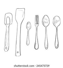 Vector sketch hand drawn illustration of kitchen utensils