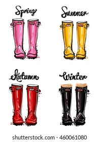 Vector sketch. Hand drawn illustration of fashion red, yellow, pink, black rubber boots and spring, summer, winter, autumn lettering. Colorful glamour season greeting card. Isolated elements on white