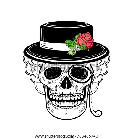 355f7884291fd vector sketch hand drawn skull tattoo black and whte in hat with red rose  with green stem and leaves and monocle. Isolated illustration on a white ...