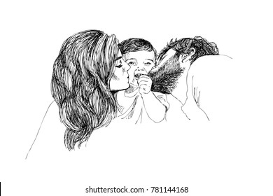 Vector Sketch of happy family Parents and children. Family concept. Love concept.