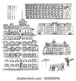 Vector sketch hotel. Hand drawn buildings.