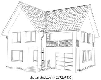 Vector sketch house on the white background. EPS 10.