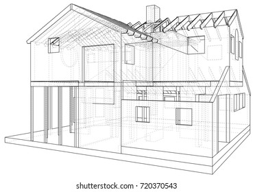 Vector sketch house on the white background. EPS 10. Vector created of 3d.