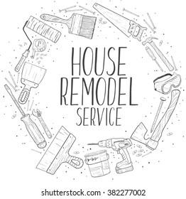 Vector sketch house remodel tools logo. Home repair service.