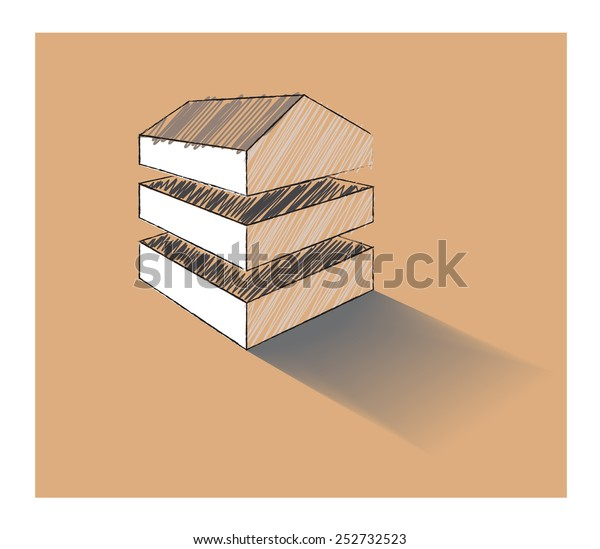 Vector sketch of a house split into three