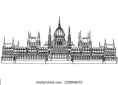 Vector sketch of Hungarian Parliament Building. Budapest, Hungary.