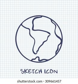 Vector sketch icon of earth