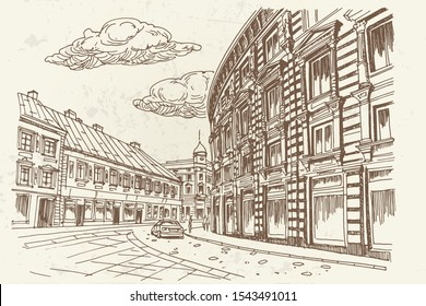 vector sketch of Ilica street in Zagreb. Retro style.