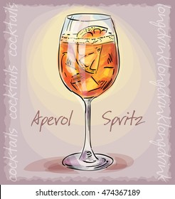 vector sketch illustration of aperol spritz cocktail