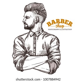 Vector sketch illustration of barbershoper. Portrait of young hipster man with trendy hairstyle. Hand drawn image of Barber Shop owner