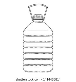 Vector Sketch Illustration - Big Plastic Bottle with Handle. 5 Liters Capacity.