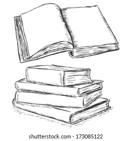 vector sketch illustration -  blank open book and stack of books
