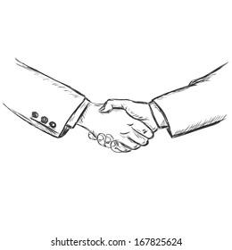 vector sketch illustration -business handshake