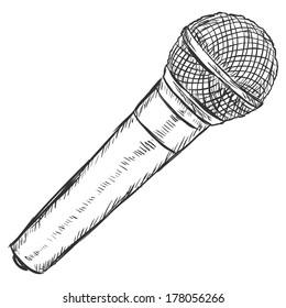 Vector Sketch Illustration -  Dinamic Microphone