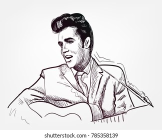 vector sketch illustration elvis presley