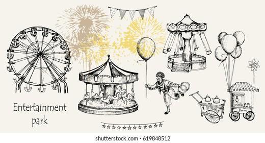 Vector sketch illustration. Entertainment park set : carousel, ferris whee, swing, popcorn machine, ice cream, flags,  balloons, firework