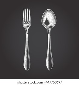 vector sketch illustration of fork and spoon. EPS