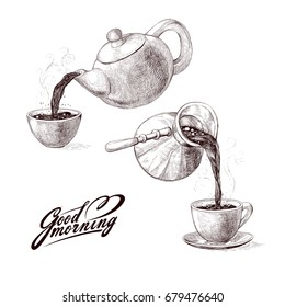 Vector sketch illustration of fresh brewed hot and flavored morning coffee from turks and tea from teapot poured into cup. Drink with splashes and steam pouring into bowl. Imitation vintage engraving.