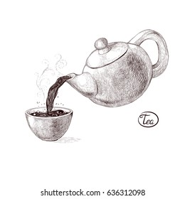 Vector sketch illustration of fresh welded hot and flavored morning tea from the teapot poured into the teacup. Drink with splashes and steam pouring into the bowl. Imitation vintage engraving