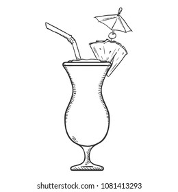 Vector Sketch Illustration - Glass of Pina Colada with Drinking Straw, Cocktail Umbrella and Pineapple