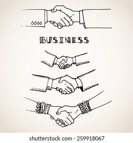 Vector sketch illustration of handshake on white