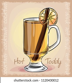 vector sketch illustration of hot toddy cocktail