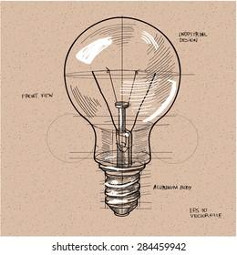 vector sketch illustration - light bulb