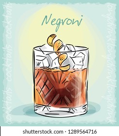 vector sketch illustration of Negroni cocktail
