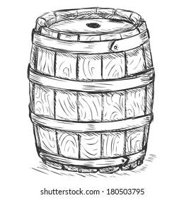 Vector Sketch Illustration - old wooden barrel