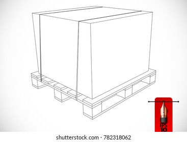 Vector sketch illustration of outline pallet or skid with fixed box