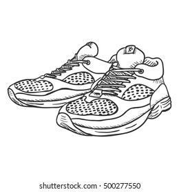 Vector Sketch Illustration - Pair of Running Shoes on White Background