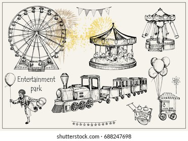 Vector sketch illustration. Pen style vector objects. Entertainment park set : carousel, ferris whee, swing, popcorn machine, ice cream, flags,  balloons, train, firework