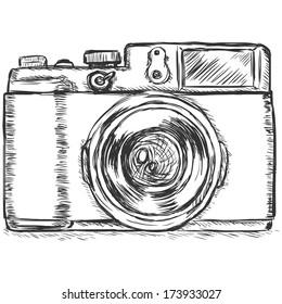 vector sketch illustration -photo camera