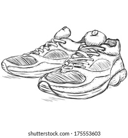 7078ee556c00 vector sketch illustration - running shoes