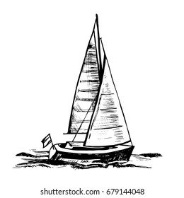Vector sketch illustration.  Sailing boat. Sea yacht floats on the surface of the water.
