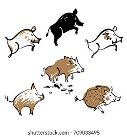 Vector sketch illustration. Set of wild boar image isolated on white background.