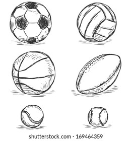 vector sketch illustration - sport balls: football, volleyball, basketball, rugby, tennis, baseball