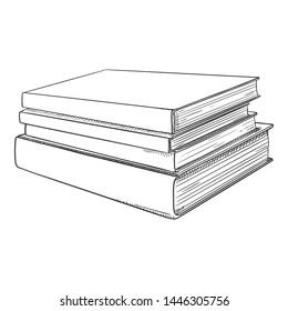 Vector Sketch Illustration - Stack of Books